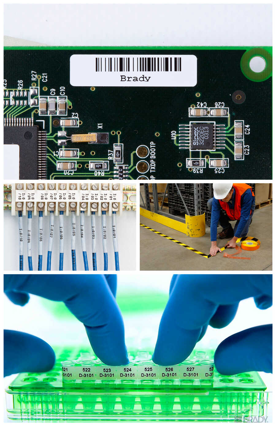 brady solutions floor marking labels for laboratory wire labels and component labeling