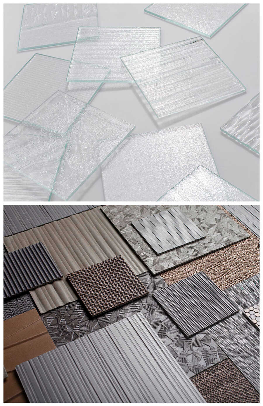glass plates, different surfaces